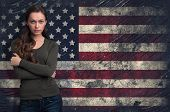 Cute Girl Over Over Usa Flag Background