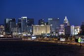 LAS VEGAS, NEVADA - November 30, 2013:  Predawn view of Monte Carlo, New York, New York and other Las Vegas strip casino resorts.