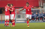 VIENNA,  AUSTRIA - MARCH 22 David Alaba (#8 Austria) celebrates a goal during the world cup qualifie
