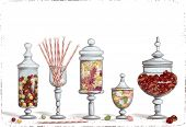picture of candy  - Set of chocolate candies in glass candy jars over white background - JPG