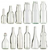 Empty glass bottles collection, isolated