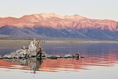 Fabulous sunrise. Sunrise at Mono Lake in the crater of an ancient extinct volcano. The lake is a lo