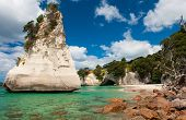 Beautiful Te Hoho Rock at Cathedral Cove Marine Reserve, Coromandel Peninsula, New Zealand. Panorami