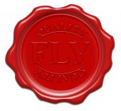Quality Fly - Illustration Red Wax Seal Isolated On White Background With Word : Fly