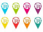 Set of icons with shopping carts