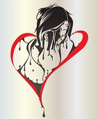 girl crying with bleeding shape heart - symbol of love