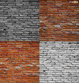 Collection of brick wall background. Vector illustration.
