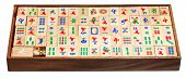 Mahjong Game Tiles In Box Isolated On White