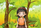Illustration of a cute girl at the forest with an orange sando