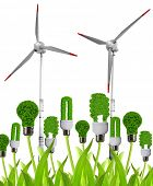 Eco energy bulbs with wind turbines. Green energy concept.