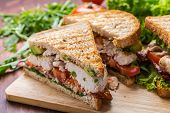 stock photo of tomato sandwich  - Grilled BLT Bacon - JPG