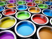 stock photo of bucket  - Paint cans color palette - JPG
