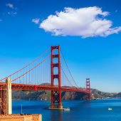 Golden Gate Bridge San Francisco from Presidio in California USA