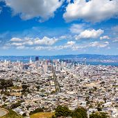 San Francisco skyline from Twin Peaks in California USA high angle view