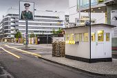 BERLIN, GERMANY - SEPTEMBER 20, 2014: Checkpoint Charlie. The crossing point between East and west B