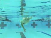 underwater view of competitive senior swimmer
