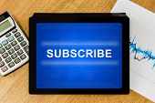 Subscribe Word On Digital Tablet