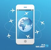 Airplanes flying around the globe. Phone concept