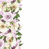 Background with roses and lisianthus flowers. Vector illustration.