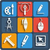 Set Of 9 Draw Web And Mobile Icons. Vector.