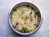 A coconut rice ready to mix spices