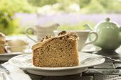 Coffee walnut cake with tea