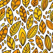 Autumn yellow doodle leaves on white seamless pattern, vector