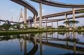 Ring Road  And Bhumibol Bridge On Blue Sky