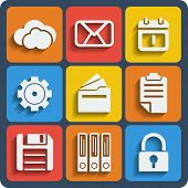 Set Of 9 Files Web And Mobile Icons. Vector.