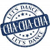 Cha Cha Cha Blue Vintage Grungy Isolated Round Stamp