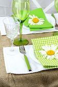 Trendy table setting in restaurant