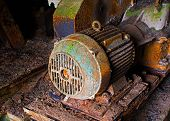 Old Electric Motor In Abandoned Factory