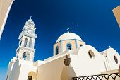 The Temple And The Bell In The Town Of Fira. Santorini Island, Greece