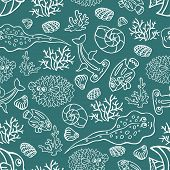 Outline Doodle seamless pattern.Funny Sea Life and Fish