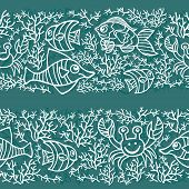 Funny Sea Life and Fish.Outline Doodle seamless border