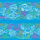 Funny Fish and Colored corals.Doodle seamless border