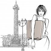 Young woman shopping in Paris - Vector illustration