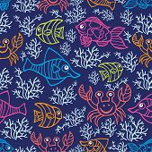 Funny  Fish and corals.Colored Doodle seamless pattern