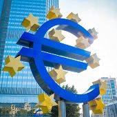 Frankfurt, Germany-July 11: Euro Sign. European Central Bank (ECB) is the central bank for the euro and administers the monetary policy of the Eurozone. July 11, 2014 in Frankfurt, Germany.