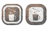Two Frames With Texture Crumpled Paper And Cup Of Coffee