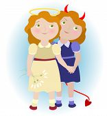 2 Cartoon Girls - Devil And Angel Illustrating Gemini Zodiac Sign. Objects Grouped And Named In Engl