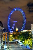 LONDON, UK - SEP 26: London Eye over Thames River on September 26, 2013 in London, UK. It is Europe'