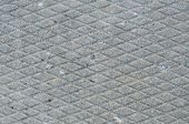 Old Grey Weathered Concrete Plate, Rough Grunge Abstract Cement Tile Texture Diagonal Groove Pattern