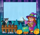 Mysterious forest Halloween frame 7 - eps10 vector illustration.