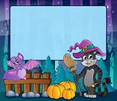 Mysterious forest Halloween frame 8 - eps10 vector illustration.