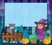 Mysterious forest Halloween frame 6 - eps10 vector illustration.