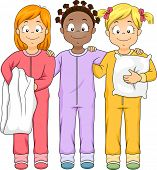 Illustration of a Group of Girls Wearing Onesies