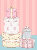 Illustration Featuring Stacks of Boxes with a Shabby Chic Design
