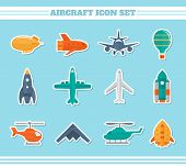 pic of military helicopter  - Aircraft helicopter military aviation airplane stickers icons set isolated vector illustration - JPG