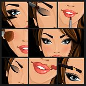 Make-up beauty woman set of lips eyes face on black background vector illustration pic.